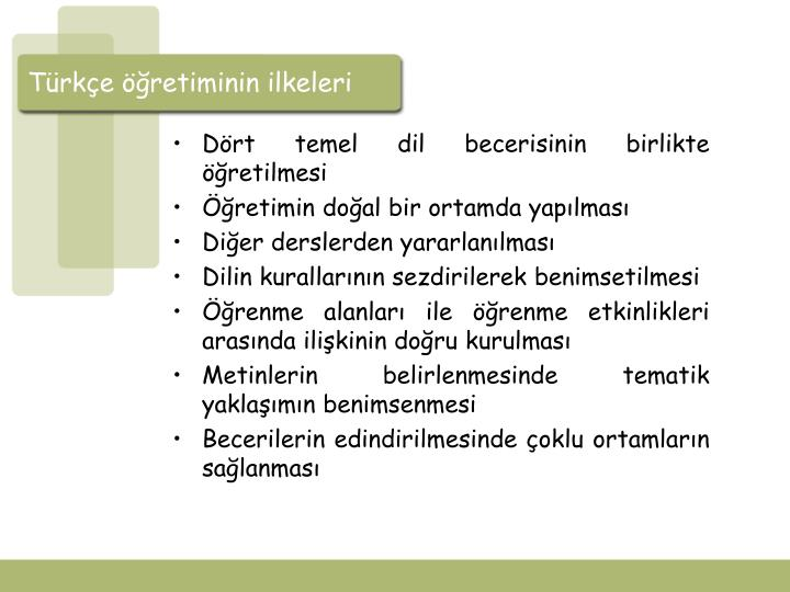 Türkçe öğretiminin ilkeleri