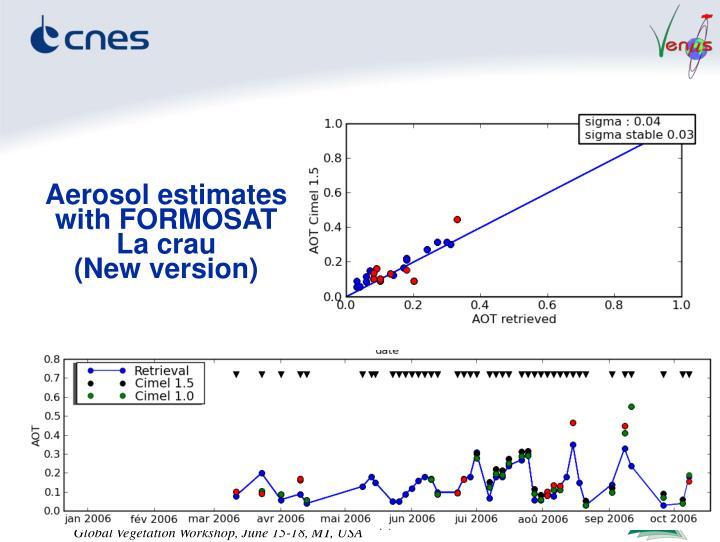 Aerosol estimates with FORMOSAT