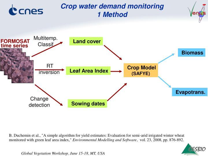 Crop water demand monitoring