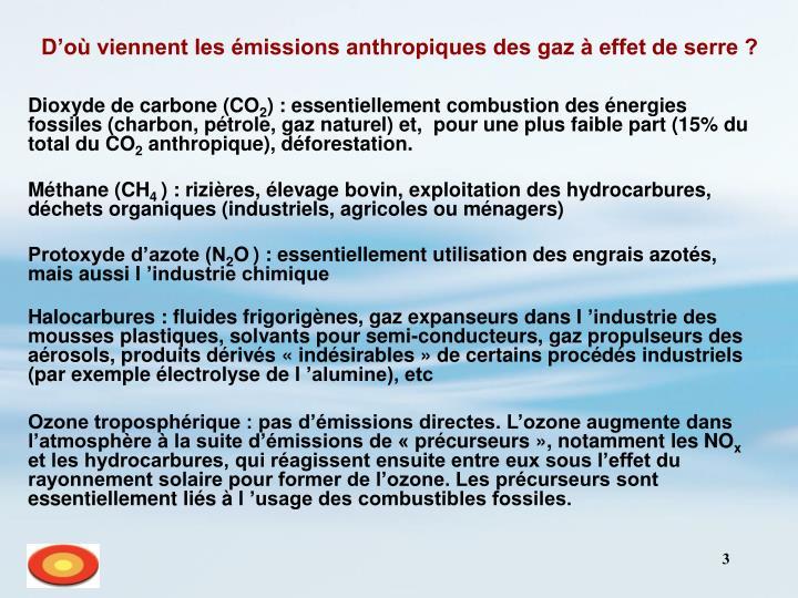 D'où viennent les émissions anthropiques des gaz à effet de serre ?
