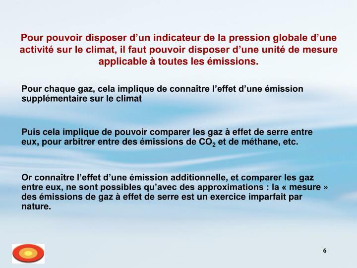 Pour pouvoir disposer d'un indicateur de la pression globale d'une activité sur le climat, il faut pouvoir disposer d'une unité de mesure applicable à toutes les émissions.
