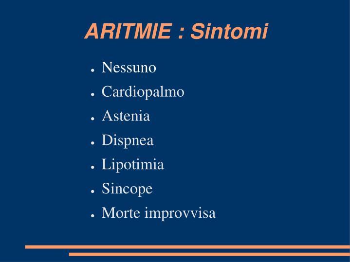 ARITMIE : Sintomi