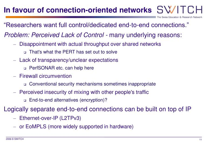 In favour of connection-oriented networks