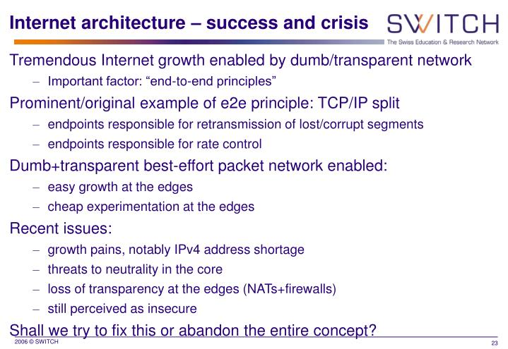 Internet architecture – success and crisis