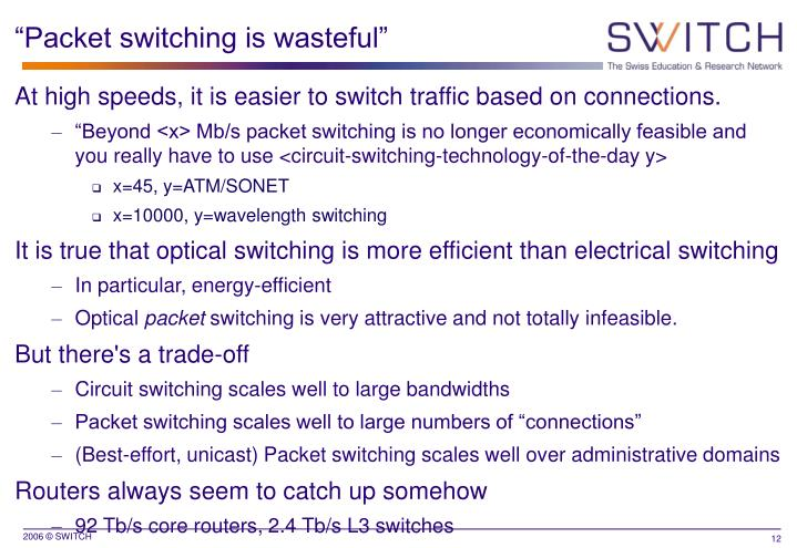 """Packet switching is wasteful"""