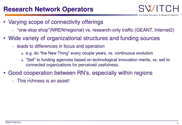Research Network Operators