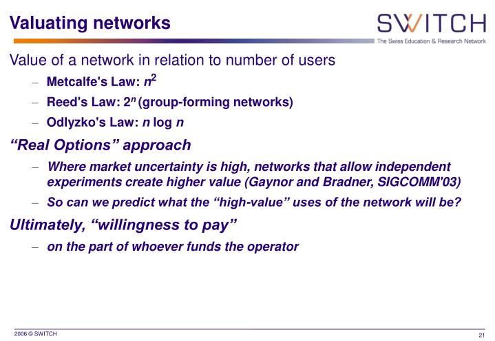 Valuating networks