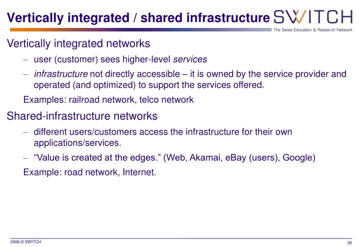 Vertically integrated / shared infrastructure