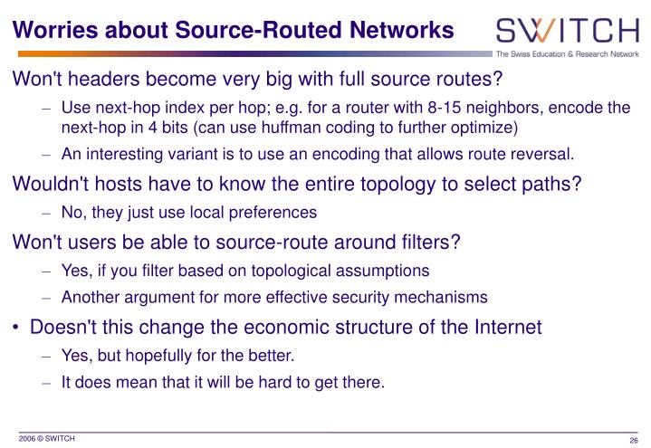 Worries about Source-Routed Networks