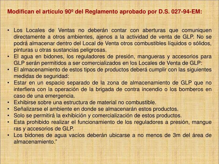 Modifican el artículo 90º del Reglamento aprobado por D.S. 027-94-EM: