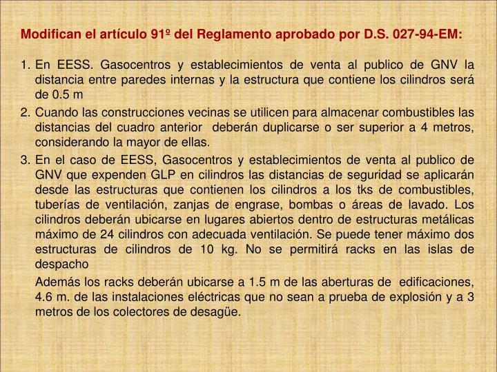 Modifican el artículo 91º del Reglamento aprobado por D.S. 027-94-EM: