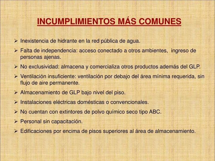 INCUMPLIMIENTOS MÁS COMUNES