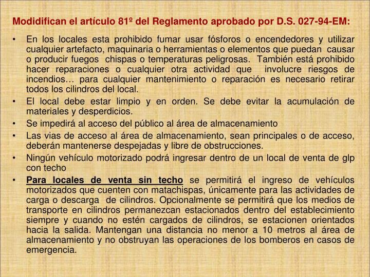 Modidifican el artículo 81º del Reglamento aprobado por D.S. 027-94-EM: