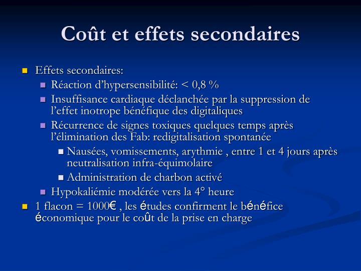 Coût et effets secondaires