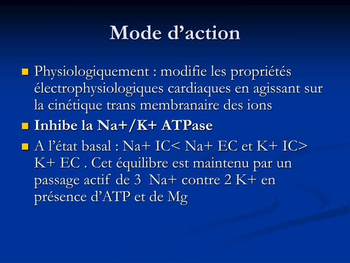 Mode d'action