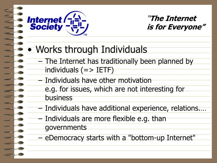 Works through Individuals