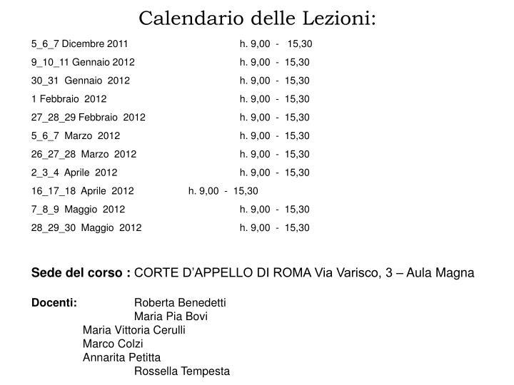 Calendario delle Lezioni: