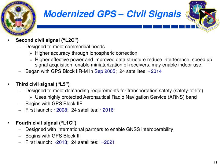Modernized GPS – Civil Signals