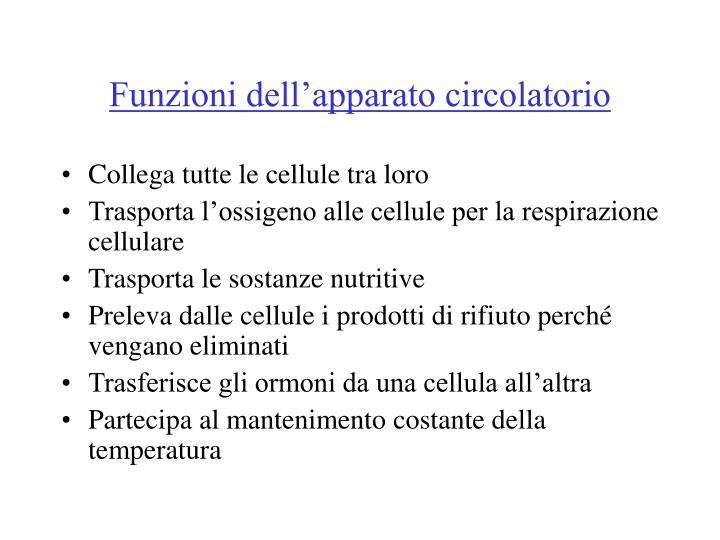 Funzioni dell'apparato circolatorio