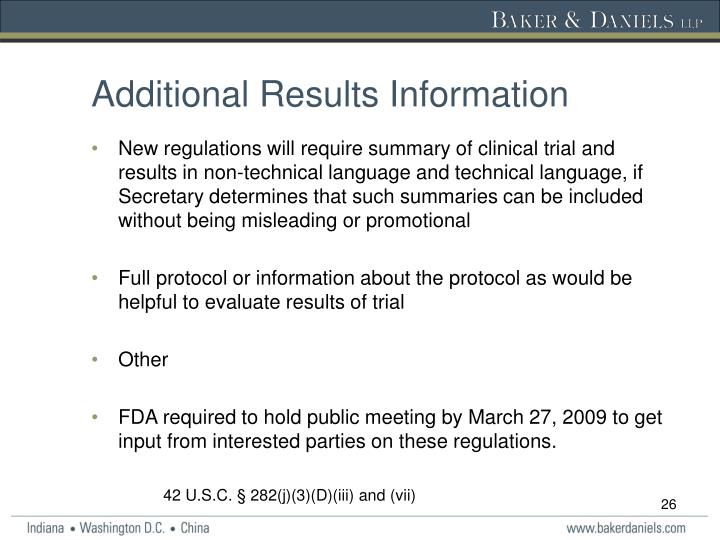 Additional Results Information