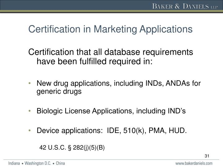 Certification in Marketing Applications