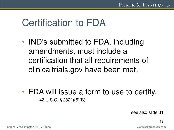 Certification to FDA