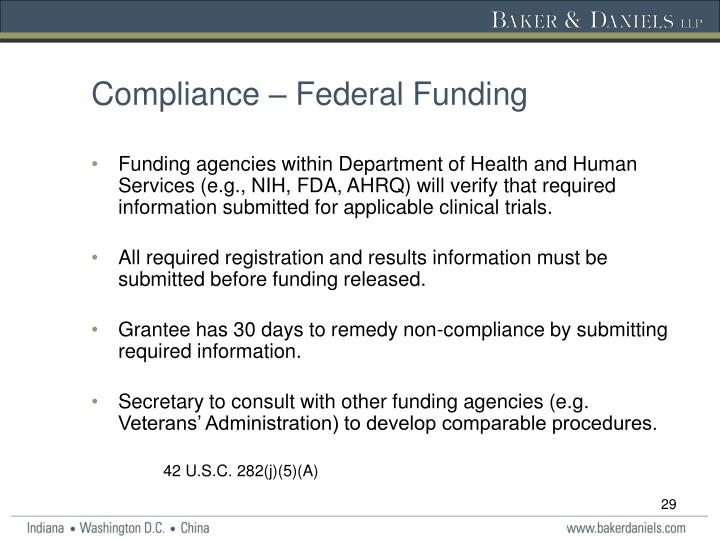 Compliance – Federal Funding