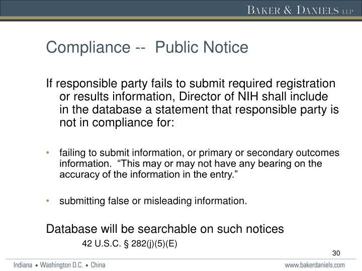 Compliance --  Public Notice