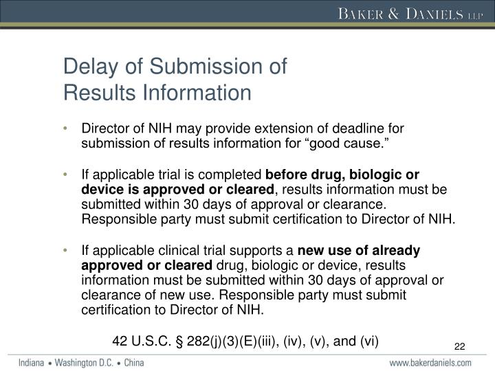 Delay of Submission of