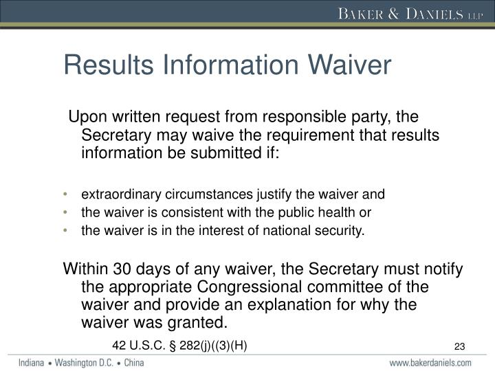 Results Information Waiver