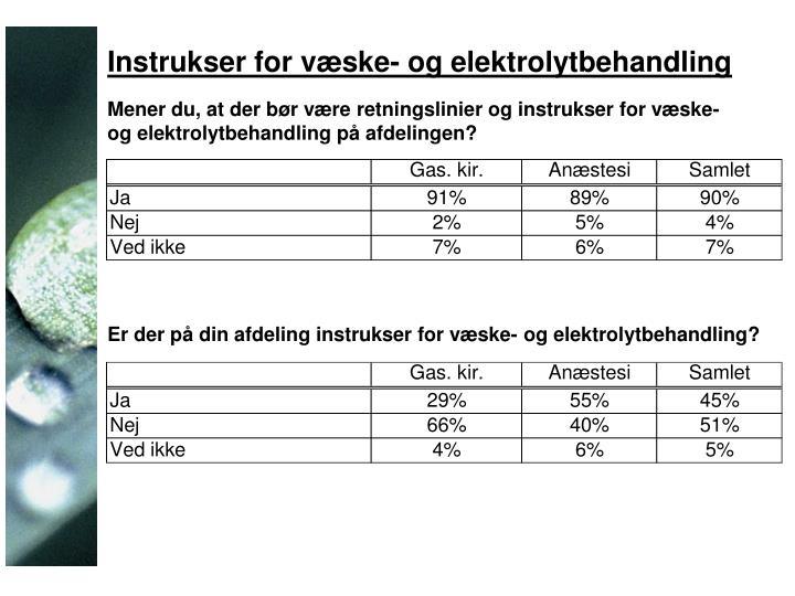 Instrukser for væske- og elektrolytbehandling