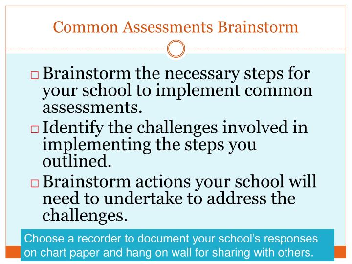 Common Assessments Brainstorm