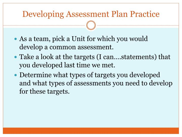 Developing Assessment Plan Practice