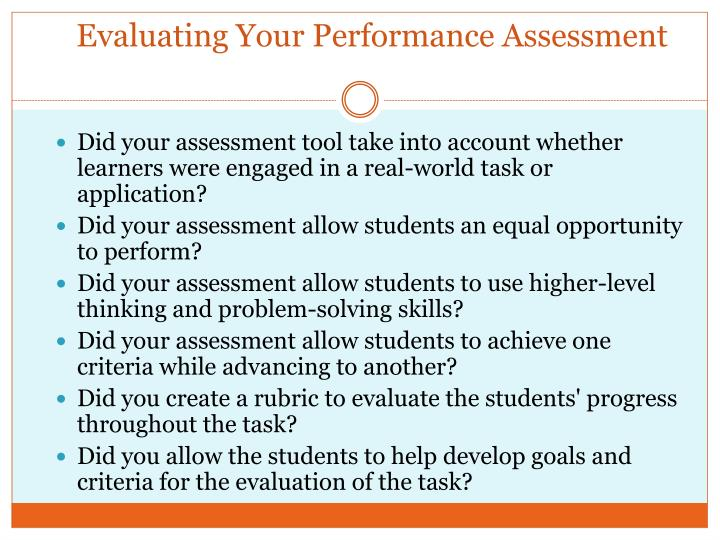 Evaluating Your Performance Assessment