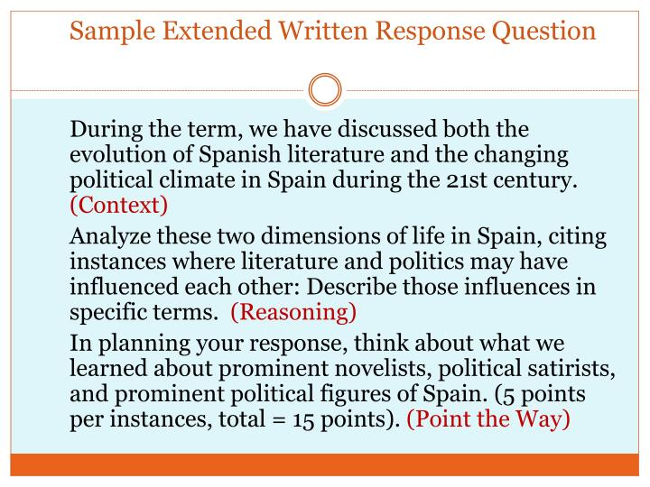 Sample Extended Written Response Question