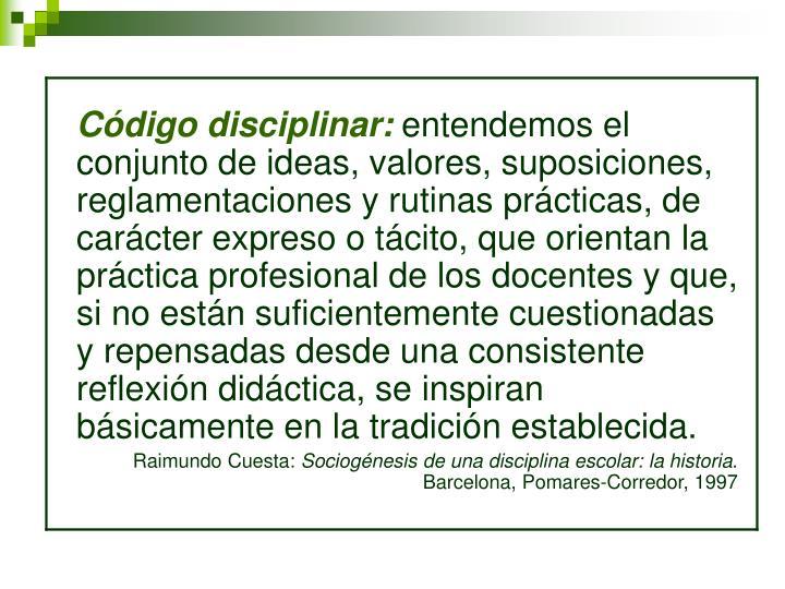 Código disciplinar:
