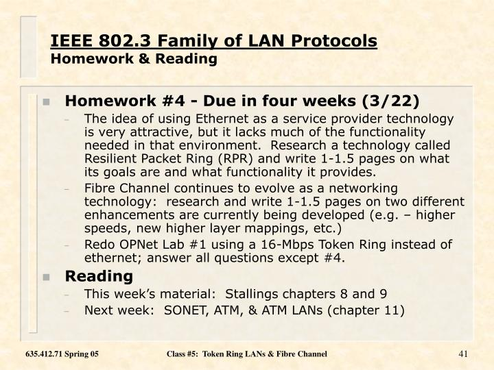 IEEE 802.3 Family of LAN Protocols