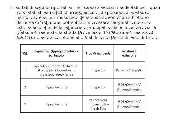 I risultati di seguito riportati si riferiscono a scenari incidentali per i quali sono stati stimati effetti di irraggiamento, dispersione di sostanze pericolose che, pur rimanendo generalmente contenuti allinterno dellarea di Raffineria, potrebbero interessare marginalmente zone esterne ai confini della raffineria e principalmente la linea ferroviaria (Catania-Siracusa) e la strada Provinciale 114 (MEssina-Siracusa ex S.S. 114), nonch aree interne allo Stabilimento Petrolchimico di Priolo.