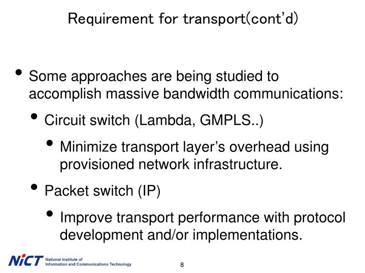 Requirement for transport(cont