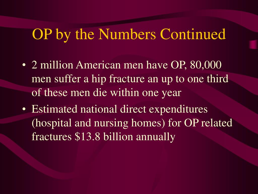OP by the Numbers Continued