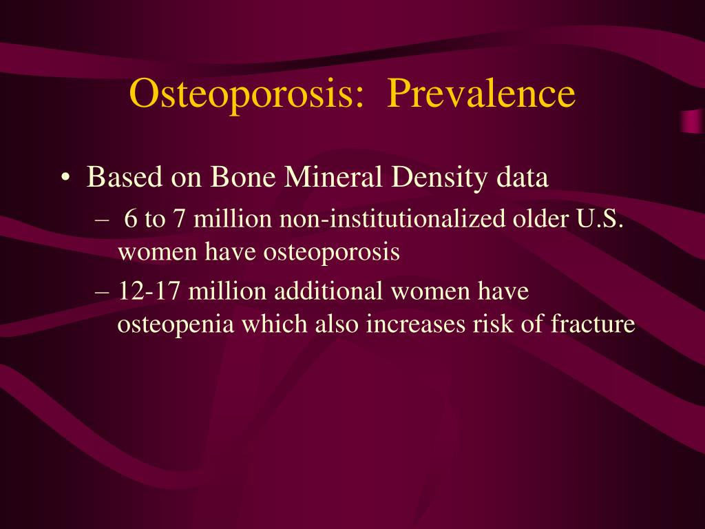 Osteoporosis:  Prevalence