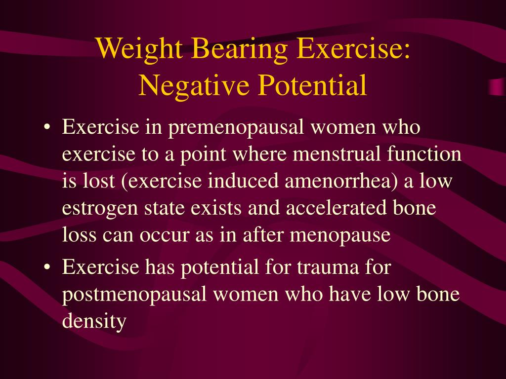Weight Bearing Exercise:  Negative Potential
