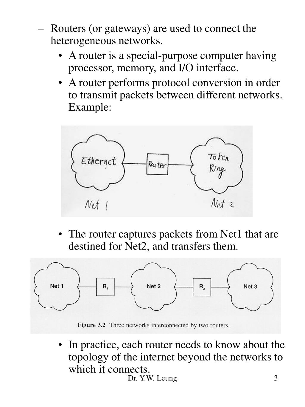 Routers (or gateways) are used to connect the heterogeneous networks.
