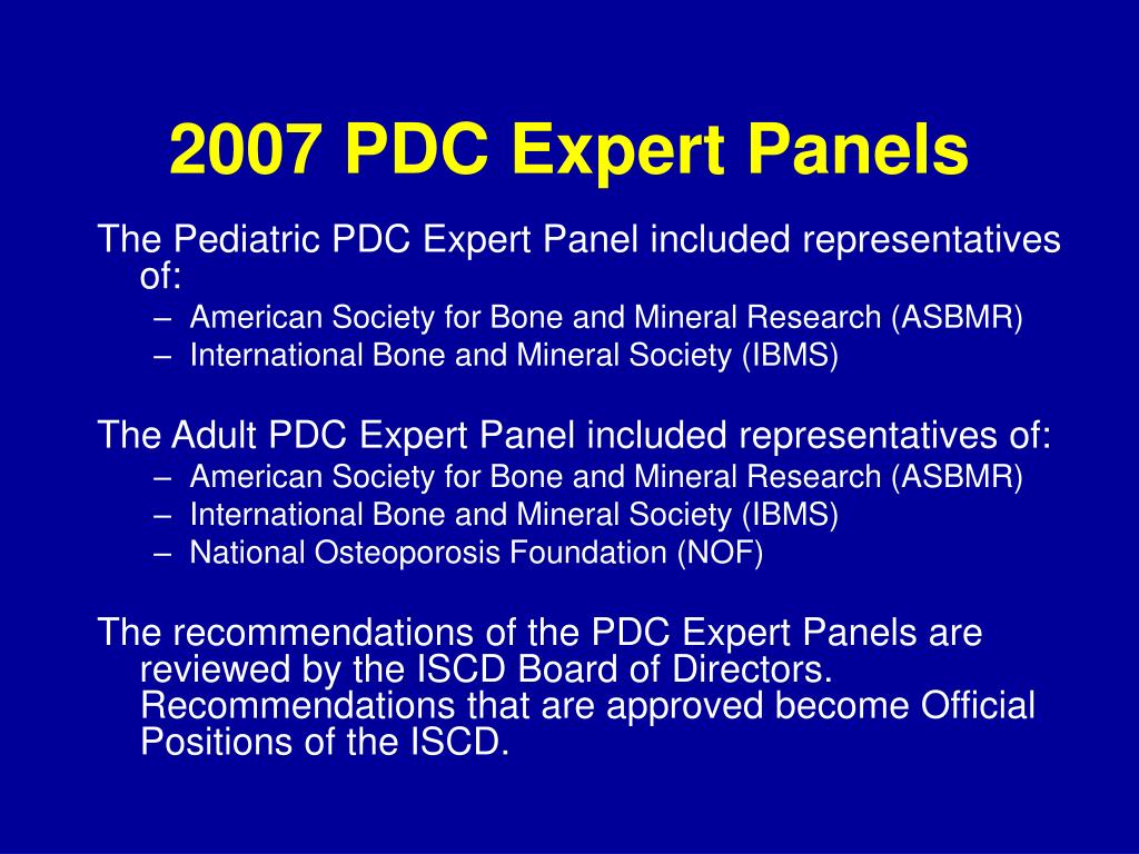 2007 PDC Expert Panels