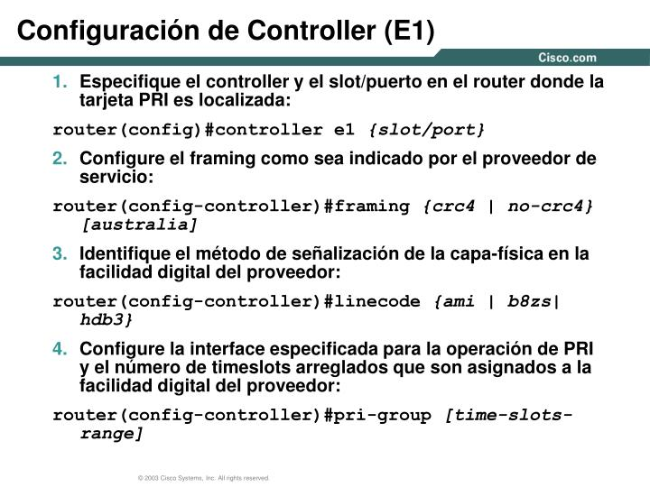 Configuración de Controller (E1)
