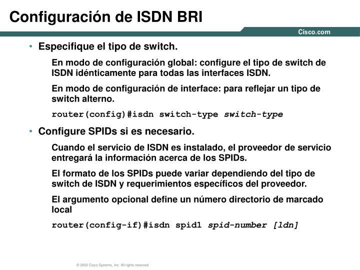 Configuración de ISDN BRI