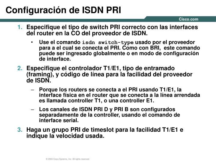 Configuración de ISDN PRI