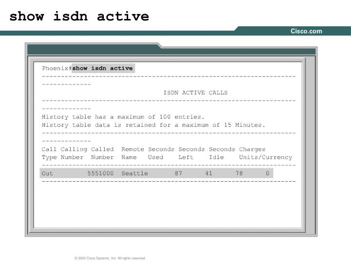show isdn active