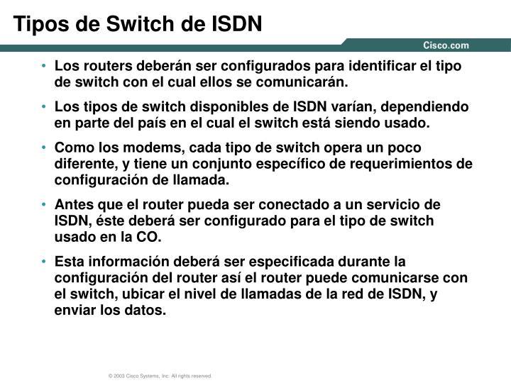 Tipos de Switch de ISDN