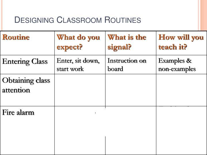 Designing Classroom Routines